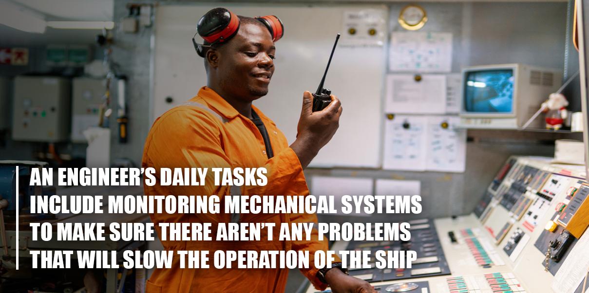 tugboat engineer talking on a radio